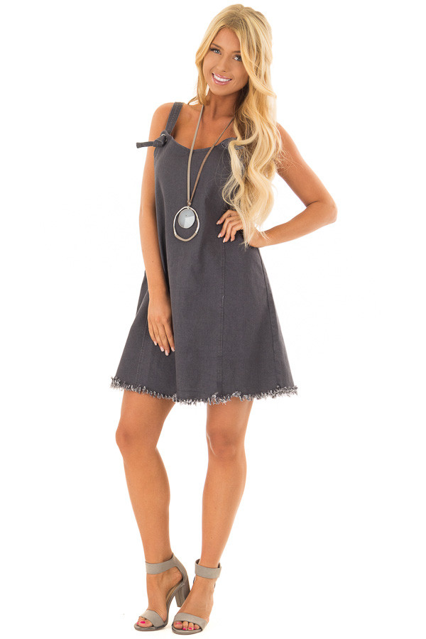 Dark Grey Denim Overall Dress with Knot Detail front full body