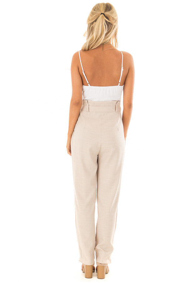 Taupe Tank Top Jumpsuit with Pockets and Waist Tie back full body