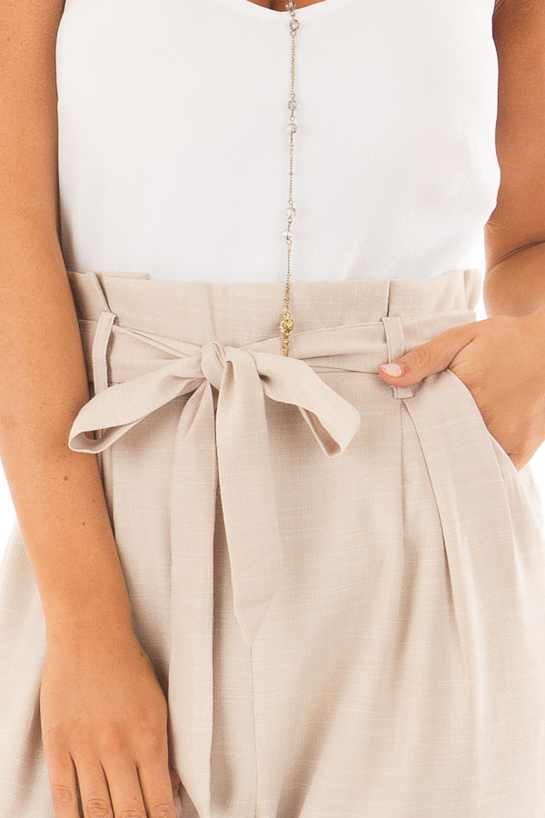 Taupe Tank Top Jumpsuit with Pockets and Waist Tie front detail
