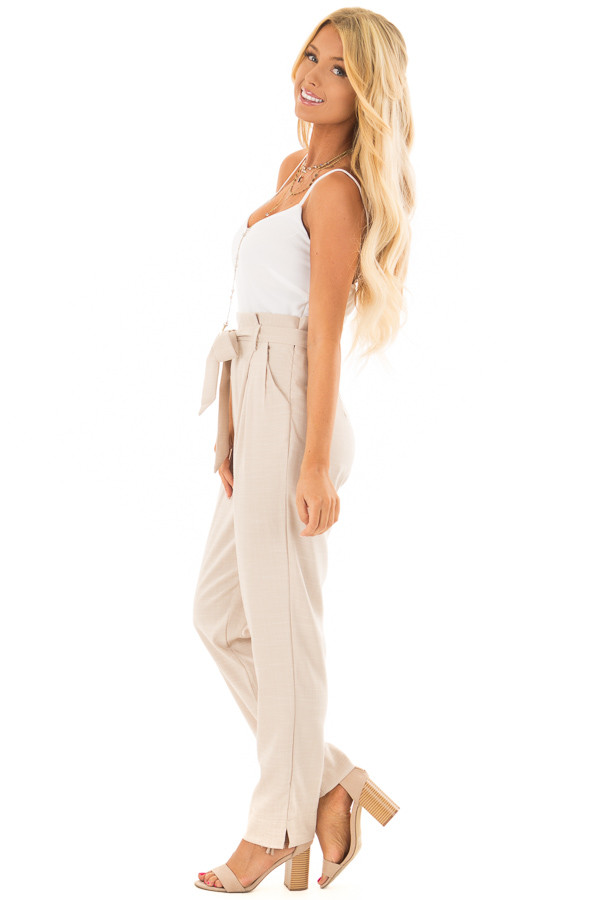Taupe Tank Top Jumpsuit with Pockets and Waist Tie side full body