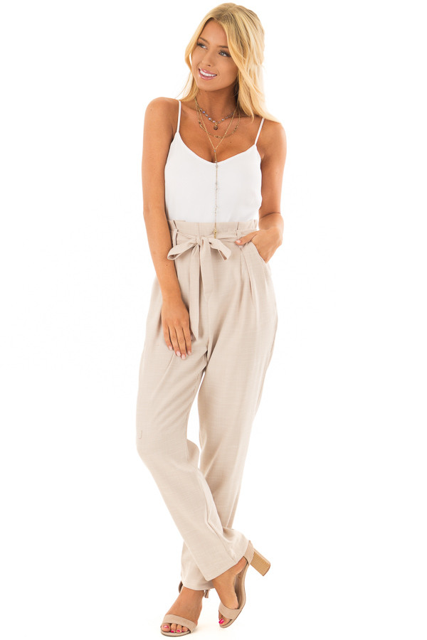 Taupe Tank Top Jumpsuit with Pockets and Waist Tie front full body