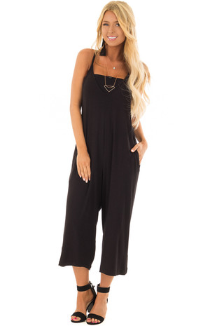 Black Sleeveless Capri Length Jumpsuit with Side Pockets front full body