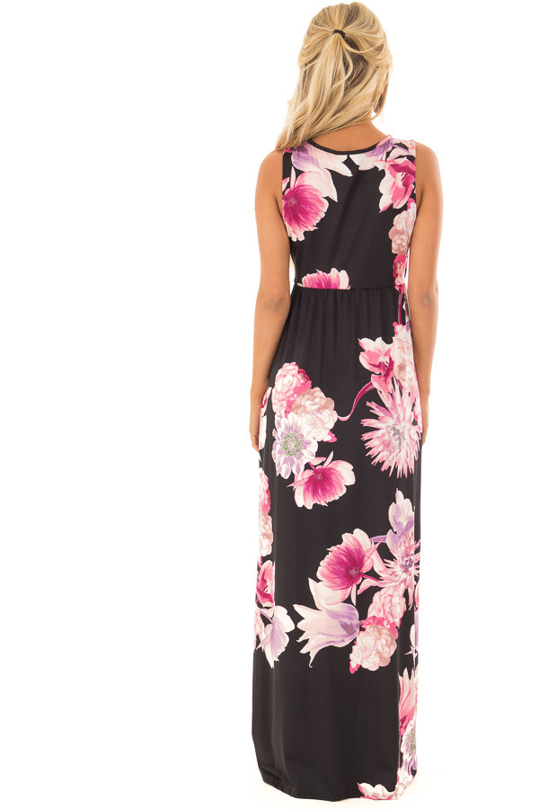 Black Floral Maxi Dress with Side Pockets back full body