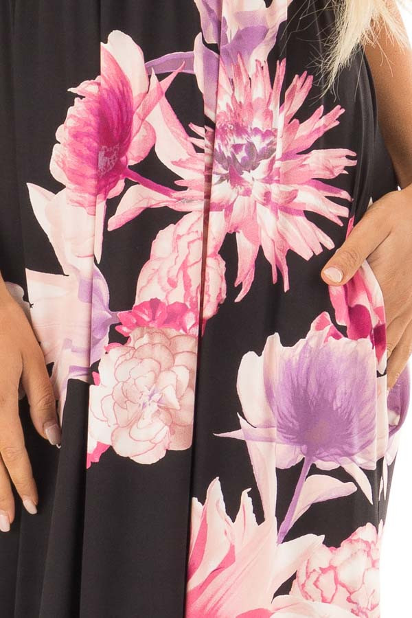 Black Floral Maxi Dress with Side Pockets front detail
