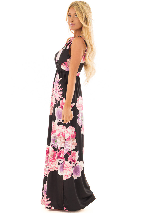 Black Floral Maxi Dress with Side Pockets side full body