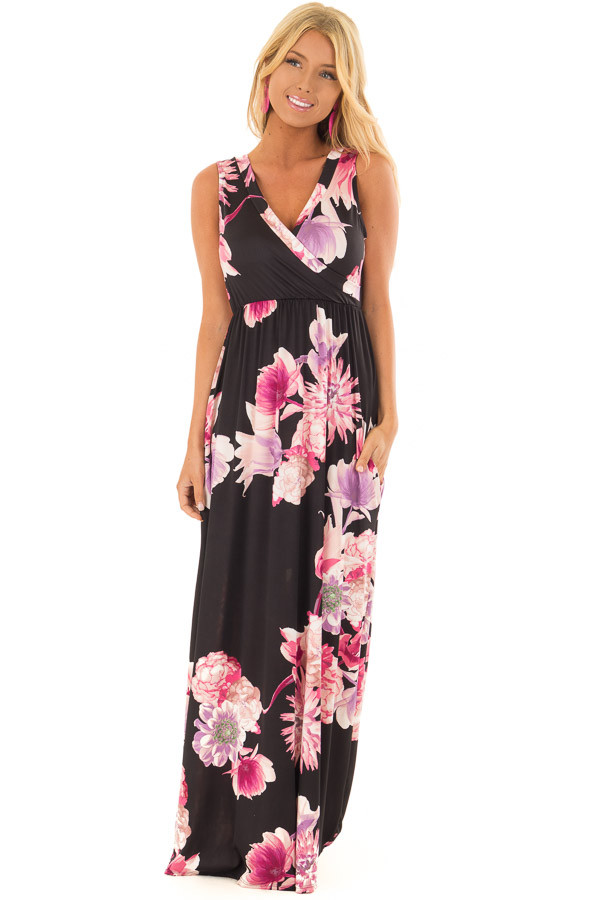 Black Floral Maxi Dress with Side Pockets front full body
