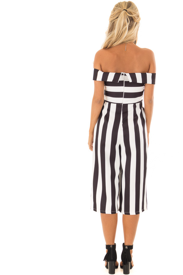 Black and White Striped Off Shoulder Capri Length Jumpsuit back full body