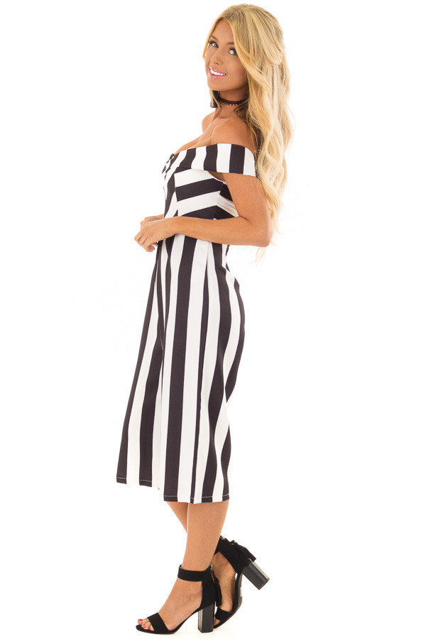 Black and White Striped Off Shoulder Capri Length Jumpsuit side full body