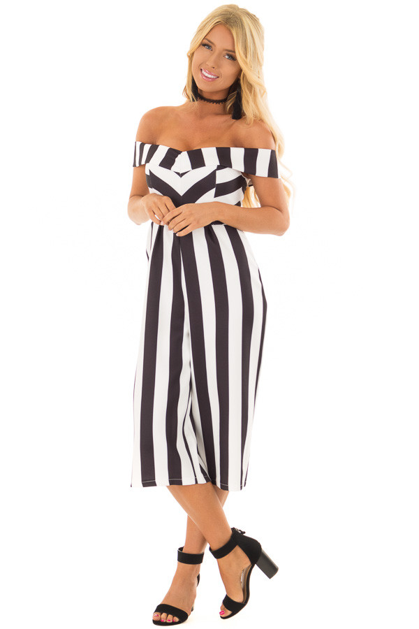 Black and White Striped Off Shoulder Capri Length Jumpsuit front full body