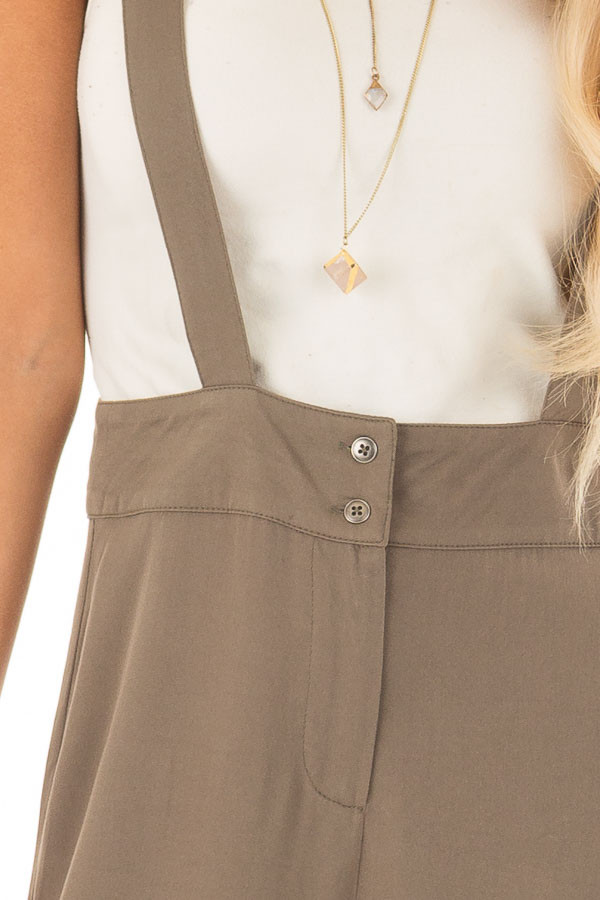 Olive Wide Leg Pants with Overall Straps and Button Detail front detail