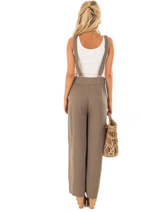Olive Wide Leg Pants with Overall Straps and Button Detail back full body
