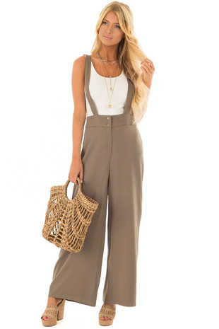 Olive Wide Leg Pants with Overall Straps and Button Detail front full body