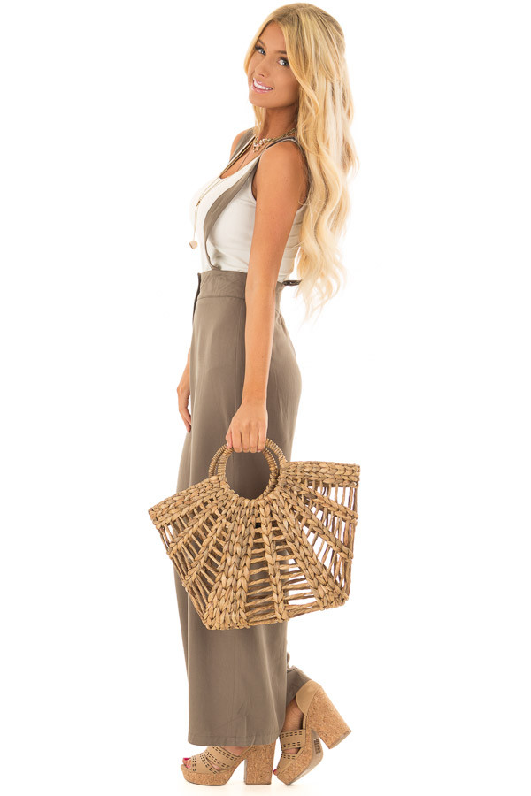 Olive Wide Leg Pants with Overall Straps and Button Detail side full body