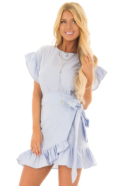 Sky Blue Ruffle Dress with Wrap Skirt and Waist Tie front closeup