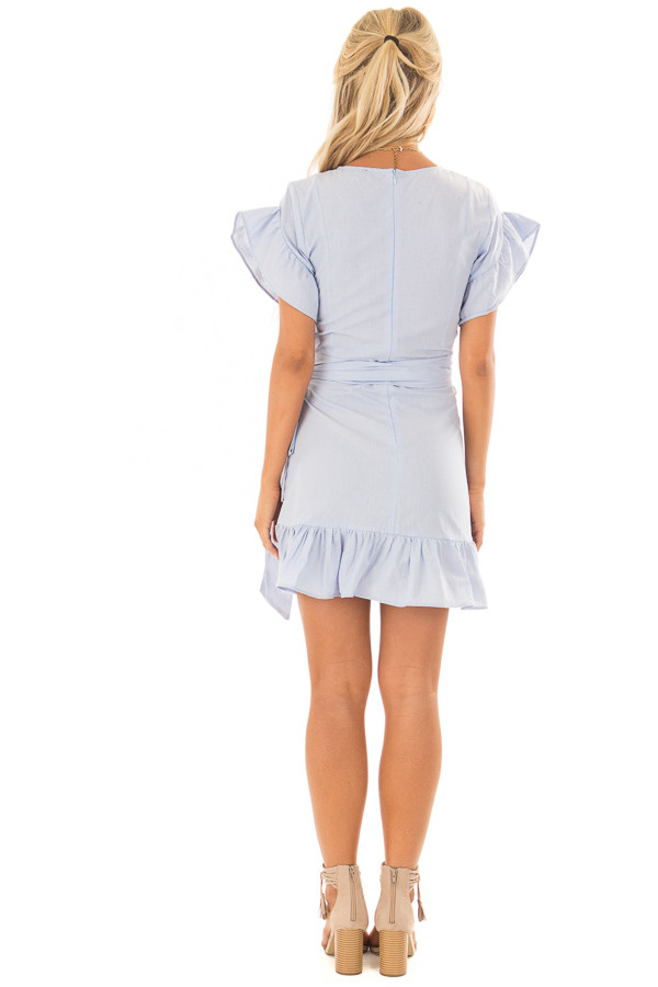 Sky Blue Ruffle Dress with Wrap Skirt and Waist Tie back full body