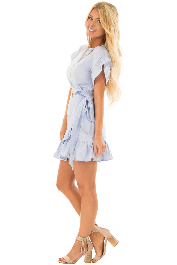 Sky Blue Ruffle Dress with Wrap Skirt and Waist Tie side full body