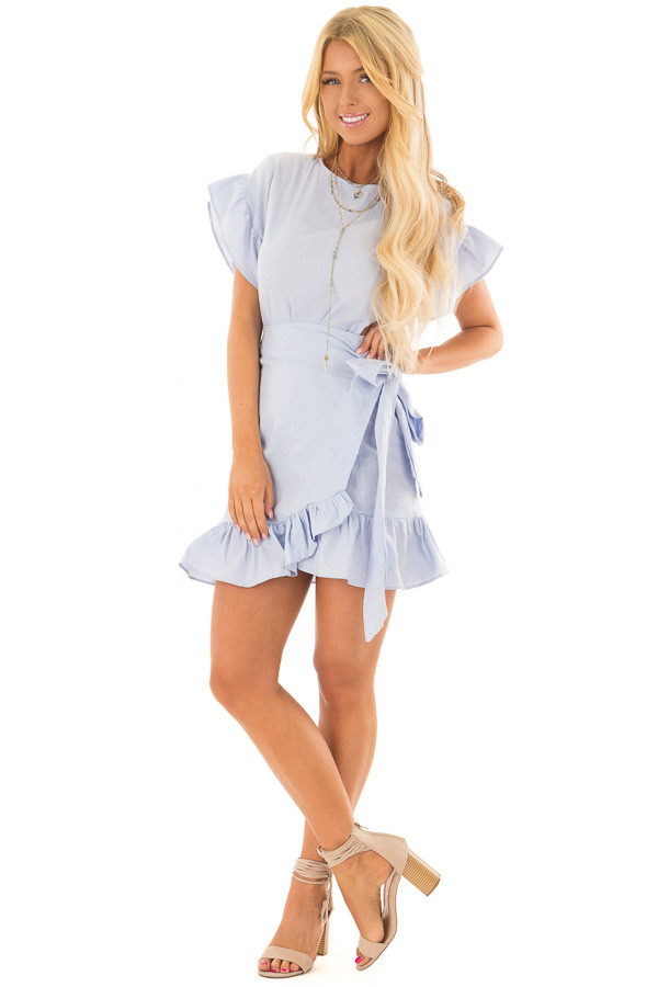 Sky Blue Ruffle Dress with Wrap Skirt and Waist Tie front full body