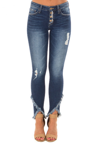 Dark Wash Button Up Skinny Jeans with Slanted Raw Hem front