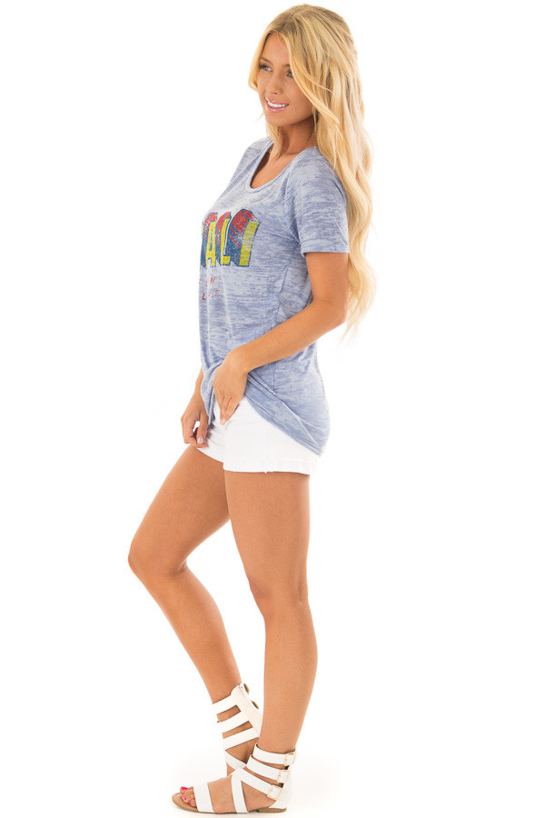 Sky Blue 'California' Tee with Open Back Detail side full body