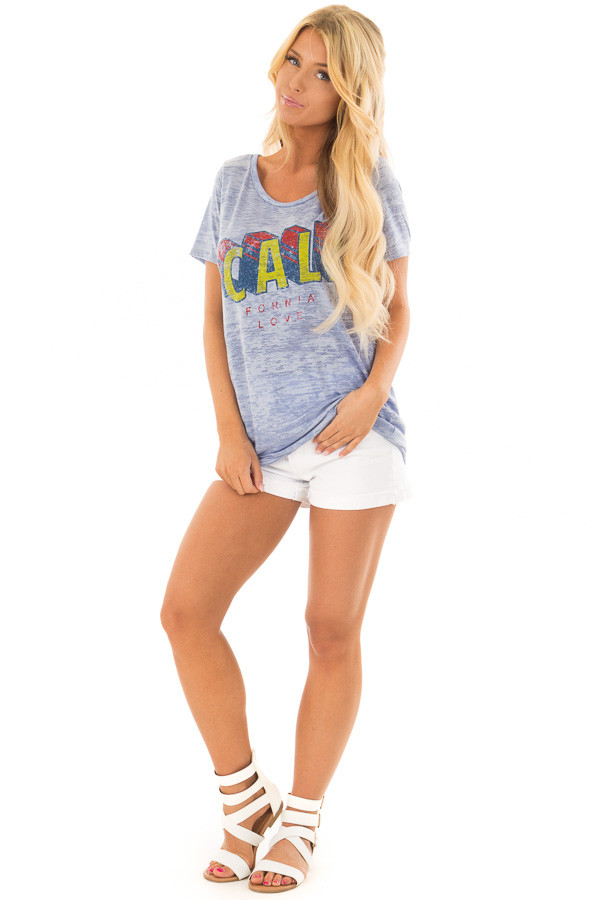 Sky Blue 'California' Tee with Open Back Detail front full body