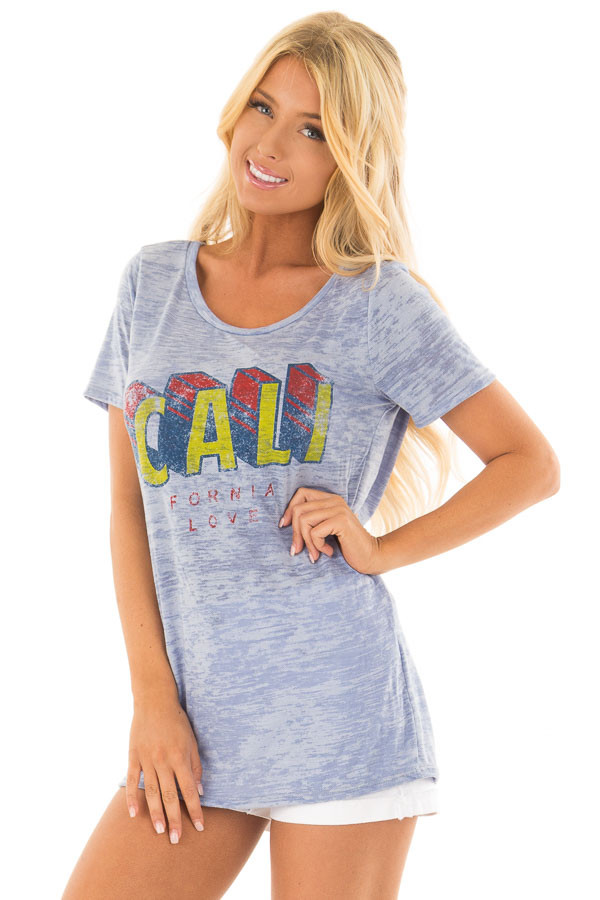 Sky Blue 'California' Tee with Open Back Detail front closeup