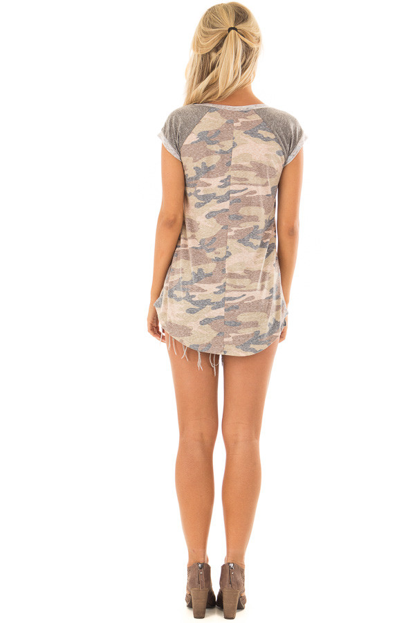 Faded Camouflage Top with Short Raglan Sleeves back full body