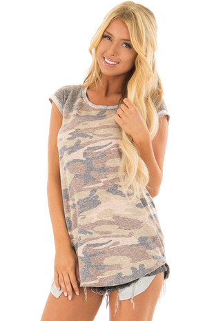 Faded Camouflage Top with Short Raglan Sleeves front closeup