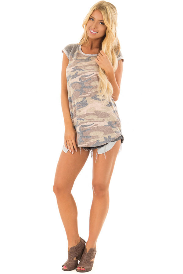 Faded Camouflage Top with Short Raglan Sleeves front full body