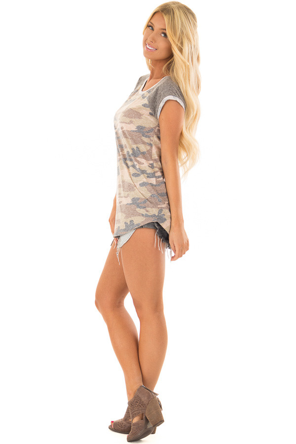 Faded Camouflage Top with Short Raglan Sleeves side full body