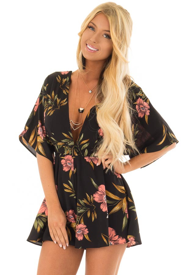Black Floral Short Sleeve Romper with Plunging Neckline front closeup