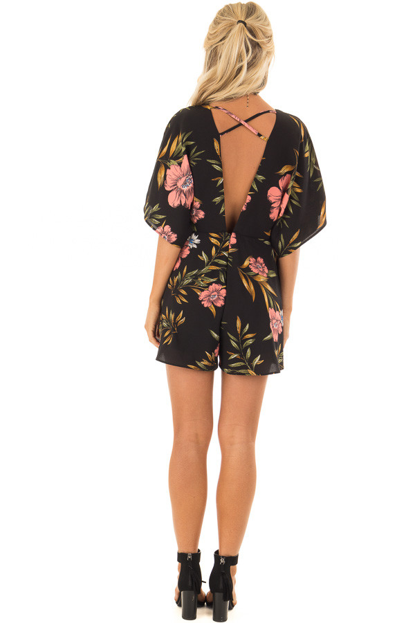 Black Floral Short Sleeve Romper with Plunging Neckline back full body