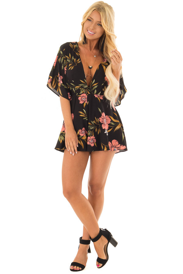 Black Floral Short Sleeve Romper with Plunging Neckline front full body