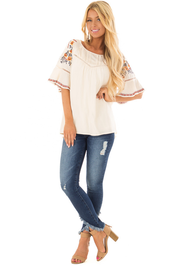 Cream Flowy Top with Wide Sleeves and Pleated Chest Detail front full body