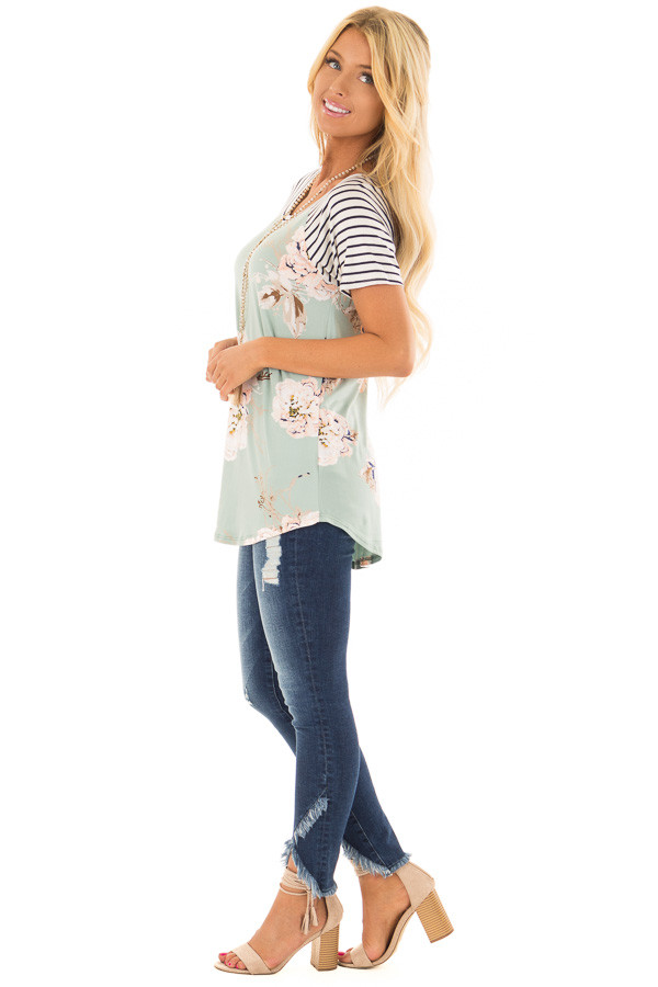Sage Floral Print Super Soft Tee with Striped Raglan Sleeves side full body