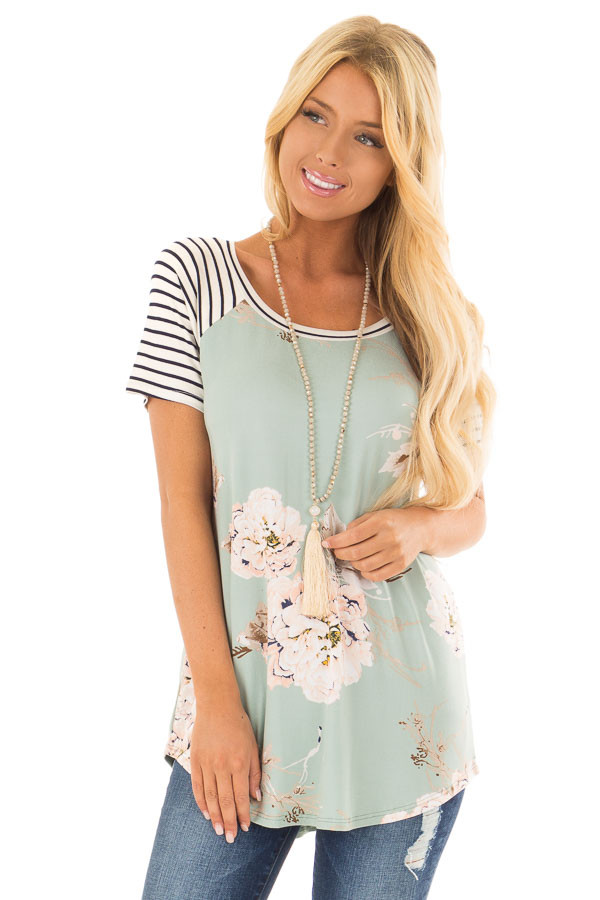 Sage Floral Print Super Soft Tee with Striped Raglan Sleeves front closeup