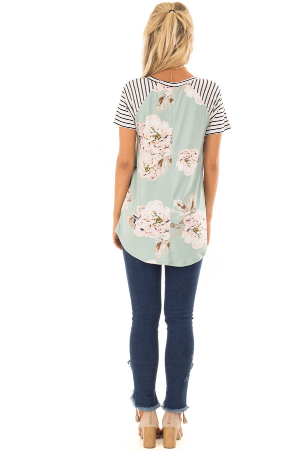 Sage Floral Print Super Soft Tee with Striped Raglan Sleeves back full body