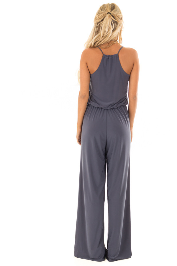 Charcoal Slinky Jumpsuit with Elastic Waist and Pockets back full body