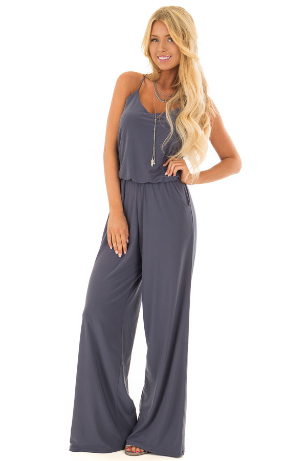 Charcoal Slinky Jumpsuit with Elastic Waist and Pockets front full body