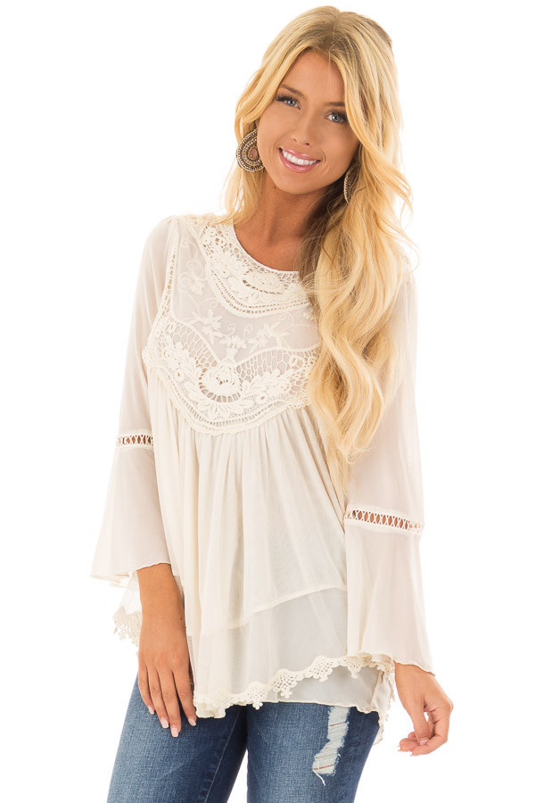 Cream 3/4 Sleeve Top with Sheer Crochet Detail front closeup