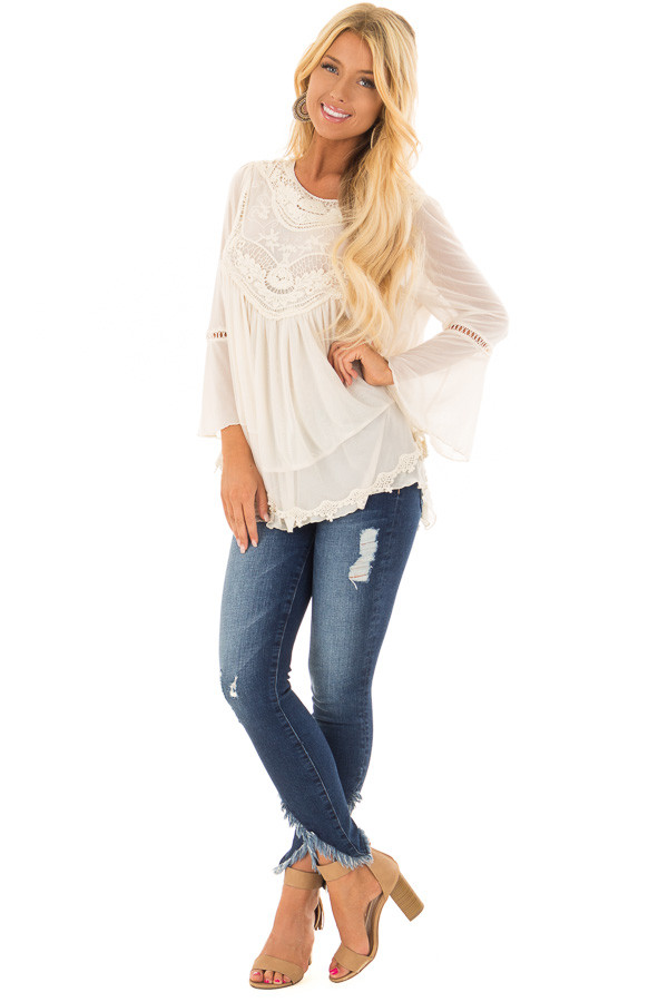 Cream 3/4 Sleeve Top with Sheer Crochet Detail front full body