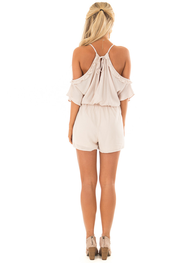 Natural Cold Shoulder Romper with Floral Embroidery back full body