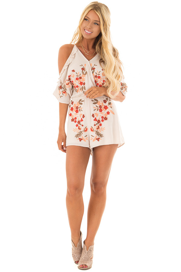 Natural Cold Shoulder Romper with Floral Embroidery front full body