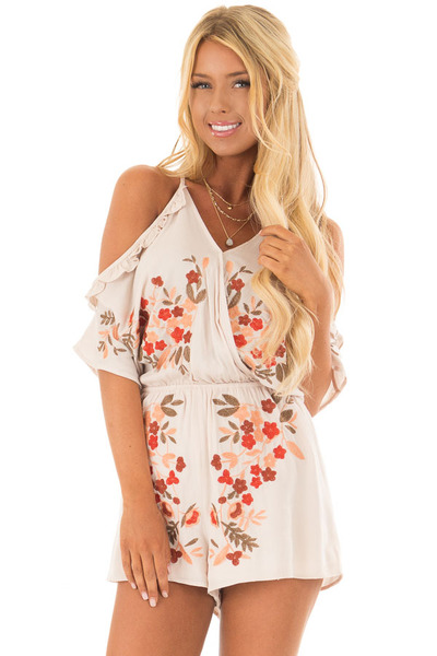 Natural Cold Shoulder Romper with Floral Embroidery front closeup