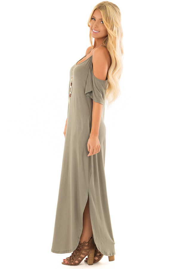 Olive Maxi Dress with Side Slits and Hidden Pockets side full body