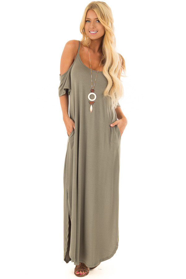 Olive Maxi Dress with Side Slits and Hidden Pockets front full body
