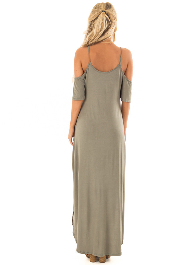 Olive Maxi Dress with Side Slits and Hidden Pockets back full body