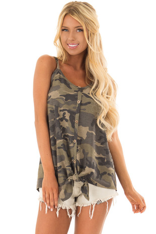 Olive Camo Print Button Down Trim Tank Top with Tie Detail front closeup
