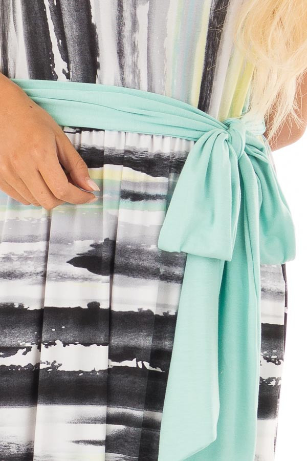 Mint Multicolor Streaked Maxi Dress with Mint Waist Tie front detail