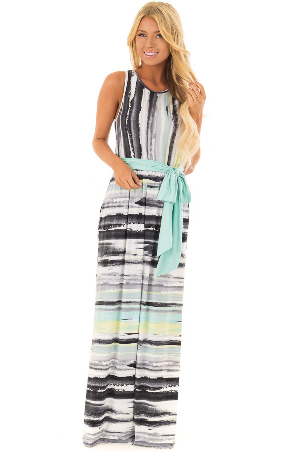 Mint Multicolor Streaked Maxi Dress with Mint Waist Tie front full body