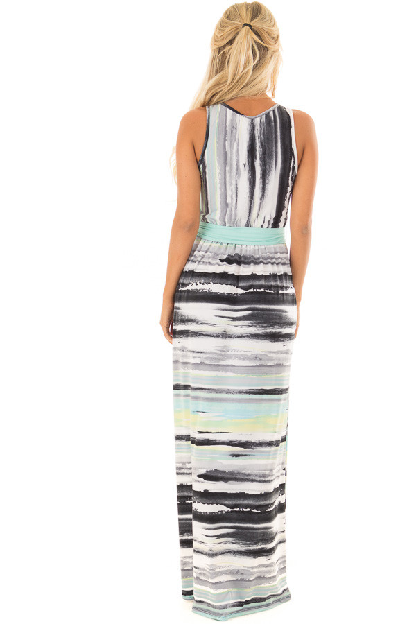 Mint Multicolor Streaked Maxi Dress with Mint Waist Tie back full body